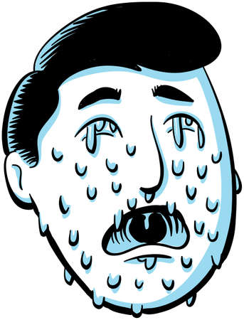 face covered: The cartoon face of a crying man is covered in many tears  Stock Photo