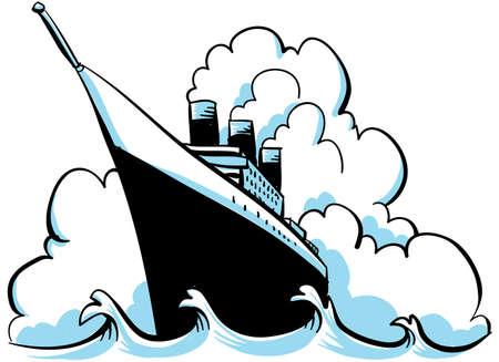 reise retro: Eine Karikatur Dampfschiff auf dem Ozean