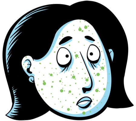 A cartoon woman has green spots on her face