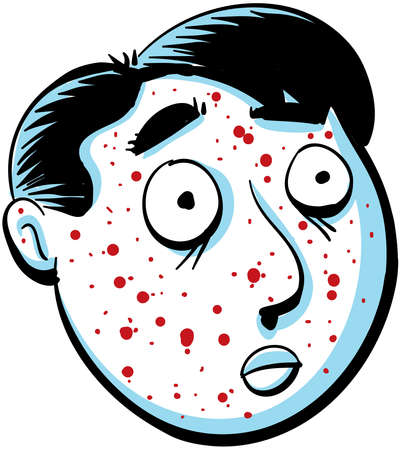sores: A cartoon man has red spots on his face  Stock Photo