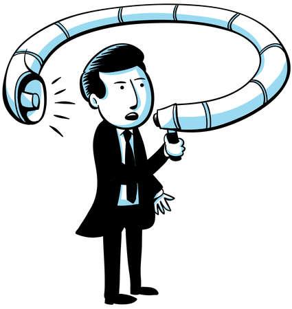 A businessman shouts at himself through a twisting megaphone.