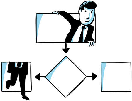 decision tree: A businessman climbs through a flowchart decision tree. Stock Photo