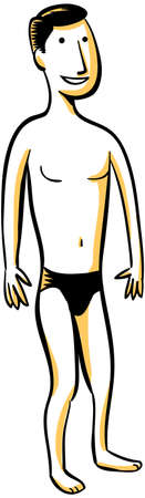 man: A cartoon man, wearing a swimsuit. Stock Photo