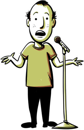 joking: A cartoon comedian performs with a microphone.