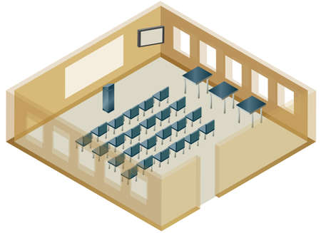 An illustration of a classroom with seats arranged for a lecture.