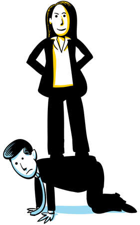 A businesswoman stands on the back of a businessman