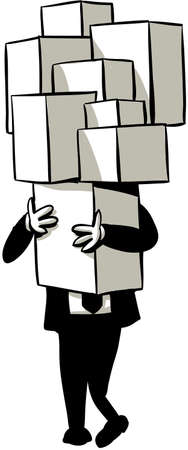 man carrying box: A cartoon businessman carries a tall stack of boxes.