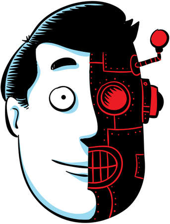 The cartoon face of a man who is half human, half robot. Stock Photo - 17780589
