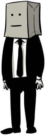 A cartoon businessman with a paper grocery bag over his head.