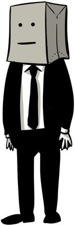 bag cartoon: A cartoon businessman with a paper grocery bag over his head.