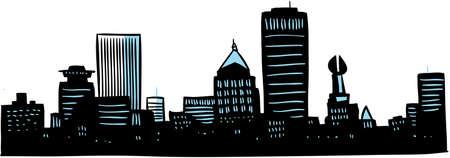 Cartoon skyline silhouette of the city of Rochester, New York, USA. photo
