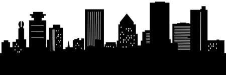 ロチェスター、ニューヨーク、米国の都市のスカイライン シルエットの漫画。