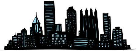 漫画のピッツバーグ、ペンシルバニア、米国の都市のスカイライン シルエット。 写真素材 - 17780588