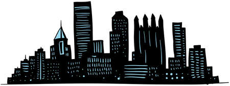 Cartoon skyline silhouette of the city of Pittsburgh, Pennsylvania, USA. Archivio Fotografico