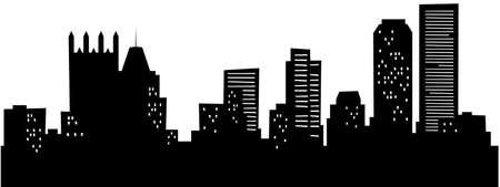 Cartoon skyline silhouette of the city of Pittsburgh, Pennsylvania, USA. Archivio Fotografico