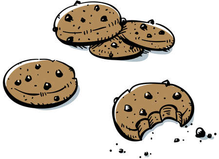A small pile of cartoon, chocolate chip cookies.