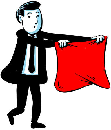 A businessman waves a red flag to encourage a bull market.