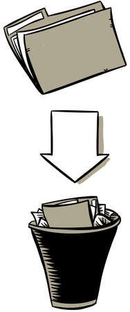 A cartoon file folder pointing towards a trash can.