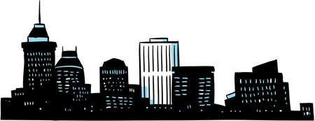 Cartoon skyline silhouette of the city of Fresno, California, USA. photo