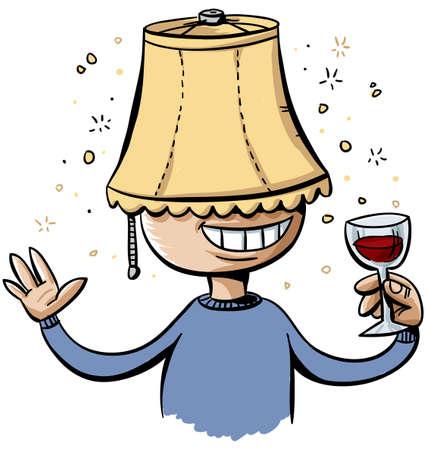 Een dronken cartoon man draagt een lampenkap op zijn hoofd