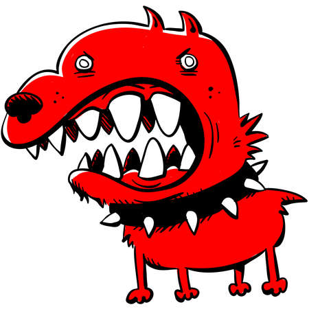 A cartoon of an angry, red dog