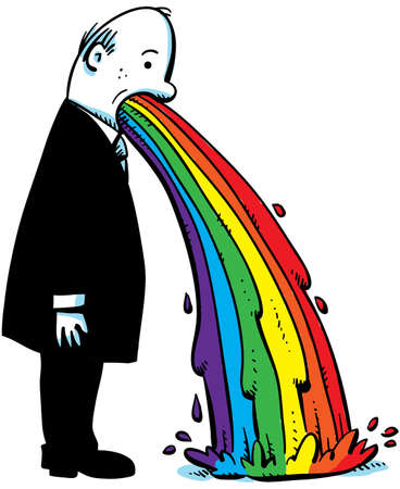 cartoon sick: A cartoon businessman vomits a rainbow on to the floor