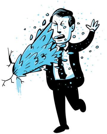 Una grieta en la pared del agua sprays sobre un hombre de negocios de dibujos animados Foto de archivo - 18300891