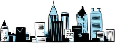A cartoon skyline of the city of Atlanta, Georgia, USA