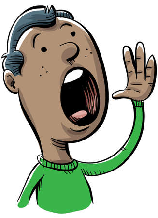 A cartoon man shouts out.
