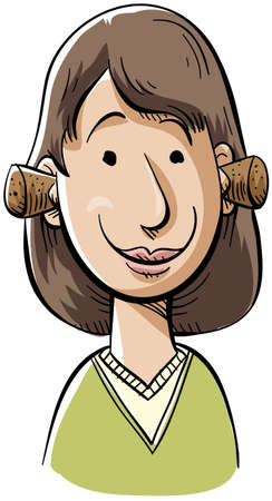 A cartoon woman with her ears plugged with corks.