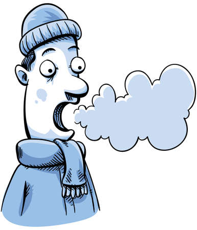 A cartoon man in cold weather can see his breath