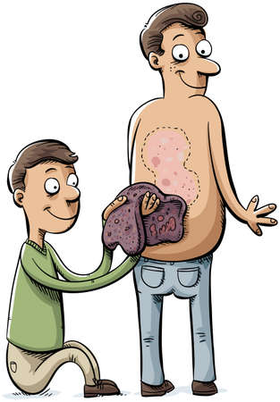 A cartoon man peels a huge scab off of another man s back