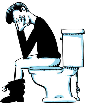 A man sits, concentrates and waits on a toilet