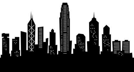 hong kong: Cartoon skyline silhouette of the city of Hong Kong, China.