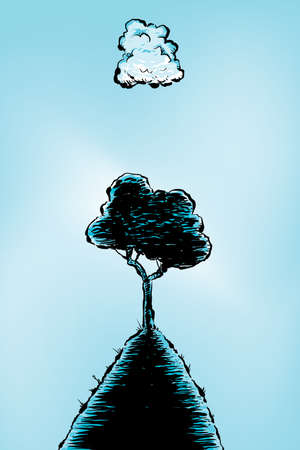 A single cartoon cloud casts a shadow over a tree on a hill  Stock Photo