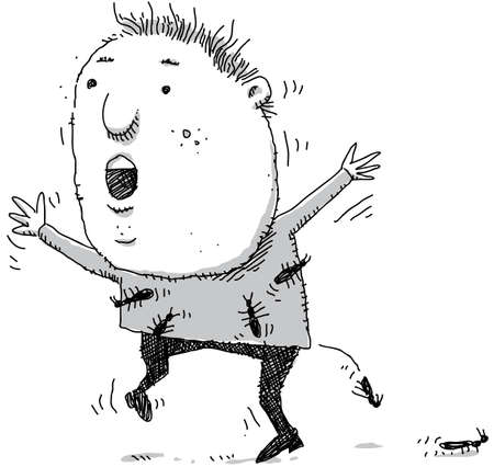 itchy: A cartoon boy has itchy ants in his pants