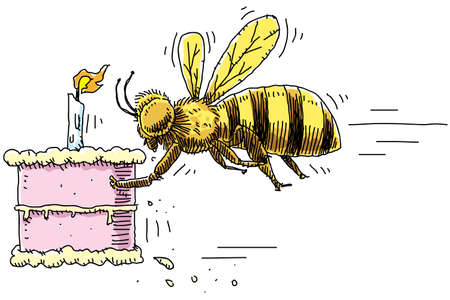 delivers: A cartoon bee delivers a cake with a candle