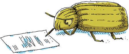 A cartoon beetle reviews a document