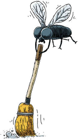 ironic: A housefly sweeps up with a broom
