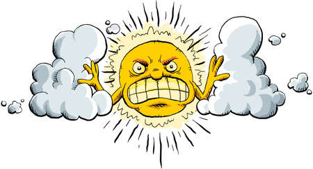 angry sky: Cartoon sun strains to push clouds apart