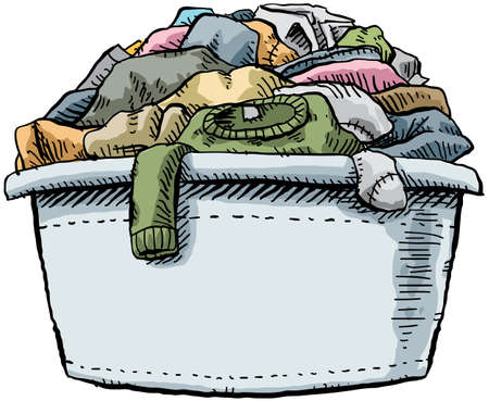 A cartoon laundry tub, full and overflowing with clothes  Stok Fotoğraf