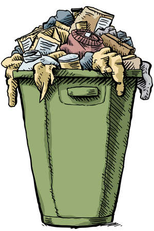 excess: A cartoon garbage bin, full and overflowing with garbage