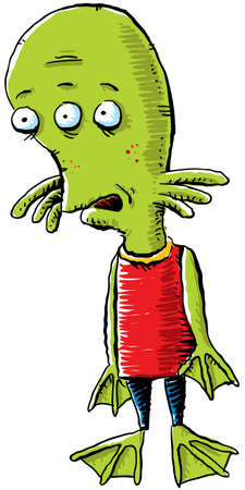 awkward: A nerdy, amphibious cartoon alien  Stock Photo