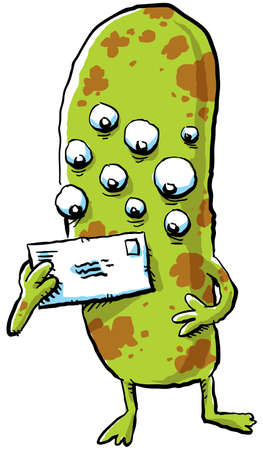 A cartoon monster with many eyes holding a stamped, mail envelope Stock Photo - 21958699
