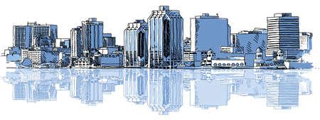 ハリファックス、ノバスコシア、カナダの都市のスカイラインのスケッチ