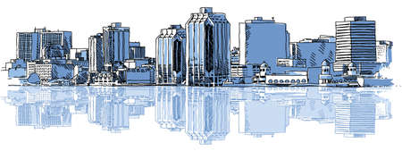 A sketch of the skyline of the city of Halifax, Nova Scotia, Canada  Banque d'images