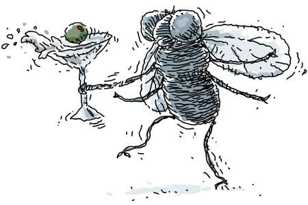 fly cartoon: A drunk housefly spills his martini