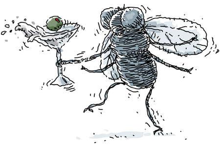 mosca caricatura: Un borracho derrama mosca su martini