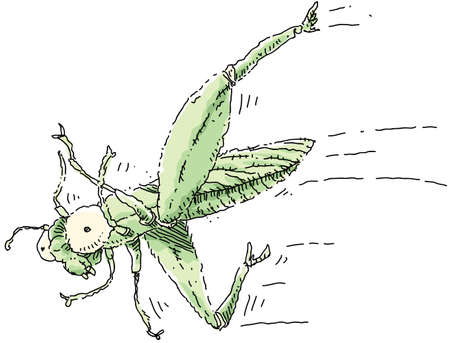 A cartoon grasshopper makes a crazy, out-of-control leap