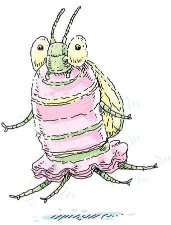 A light, happy cartoon beetle dancing